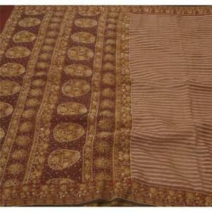 Tcw Vintage Saree Art Silk Hand Beaded Fabric Premium 5 Yd Cultural Sari