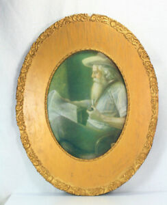 Antique Victorian Old Man W Pipe Newspaper Lithograph In Oval Gold Gesso Frame