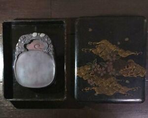 Antique Chinese Calligraphy Tool Carved Duan Inkstone Tsugaru Lacquer Case Mark