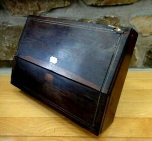 1867 Signed Antique Victorian Travelling Writing Lap Desk Mother Of Pearl Cruch