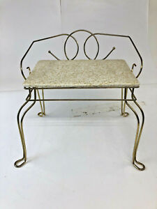Vintage Metal Vanity Stool Gold Hollywood Regency Side Chair 60s 70s Vinyl Mid