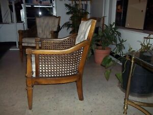 Vintage Wicker And Wood Upholstered Barrel Tub Chairs 2 Chairs