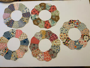 5 Feedsack Dresden Plate Quilt Blocks 8 5 Incredible Hand Stitching