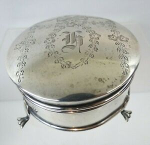 Nice Claw Footed Antique Sterling Silver Jewelry Box Birmingham England 1910