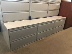 Lot Of 4 2dr 36 w Lateral File Cabinet By Haworth Office Furniture W Lock