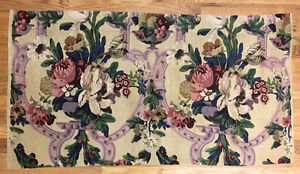 Vintage 1930 S French Or English Linen Floral Damask Fabric 2031
