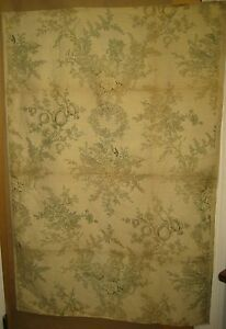 Antique Beautiful 19th C French Neoclassic Toile Linen Print Fabric 9314