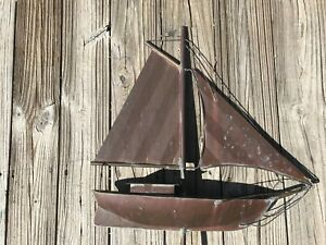 Vintage Copper Weathervane Sailboat Aafa Antique