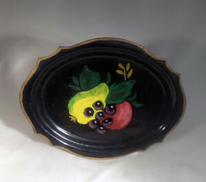 Vintage Toleware Tole Tray Hand Painted Small 6 1 4 X 8 Black Gold With Fruit