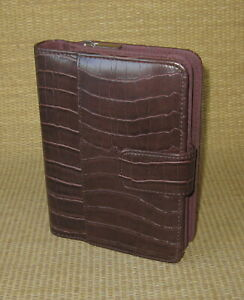 Personal 1 Brown Sim Leather Mundex mundi Planner binder Franklin Compact