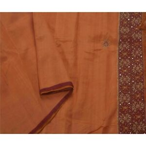 Tcw Antique Vintage Saree Pure Silk Hand Beaded Fabric Premium 5 Yard Sari