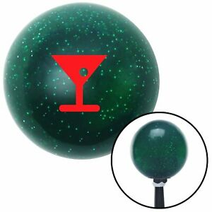 Red Martini Glass W Olive Green Metal Flake Shift Knob With 16mm X 1 5 Insert