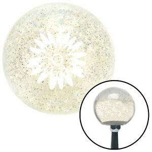 White Hawaiian Flower 3 Clear Metal Flake Shift Knob With M16 X 1 5 Insert