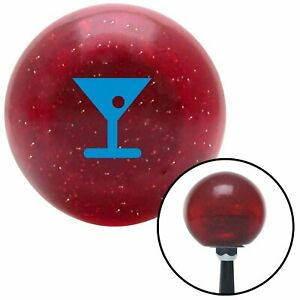 Blue Martini Glass W Olive Red Metal Flake Shift Knob With 16mm X 1 5 Insert