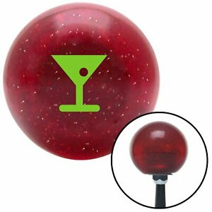 Green Martini Glass W Olive Red Metal Flake Shift Knob With 16mm X 1 5 Insert