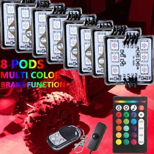 8 Pod Rgb Neon Led Rock Light Control Underglow For Offroad Car Truck Bed Boat