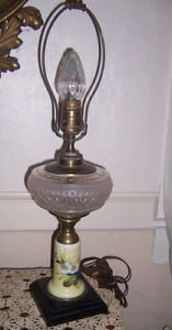 Antique Oil Lamp Base Pattern Glass Font Painted Milk Glass Base Now Electric