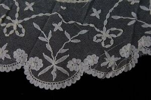 Antique Brussels Lace Bertha Collar On Net Vintage Victorian Era