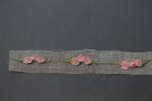 Antique Petitt French Ombre Ribbon Work Roses Centers Stem 9 Inch