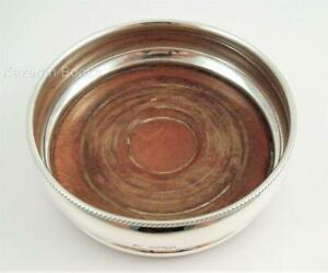 Vintage Sterling Silver Hardwood Wine Bottle Coaster London 1978 I Freeman