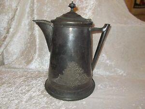 Antique Jas Stimpson Silverplated Water Coffee Pitcher