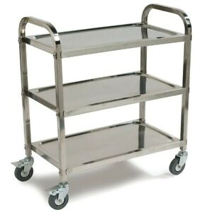 Carlisle Uc4031529 Knockdown Stainless Steel 3 Shelf Utility Service Cart 400