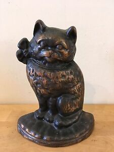 Antique Vintage Hubley 7 Sitting Cat Cast Iron Doorstop Reproduction
