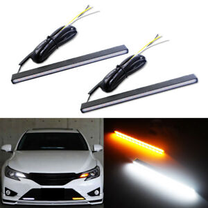 2pcs Switchback White Amber Sequential Turn Signal Led Grill Drl Daytime Lights