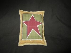 Primitive Quilted Star Pillow Green Mustard Barn Red