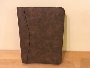 Day timer Brown Distressed Simulated Leather Desk Size Day Planner 43184