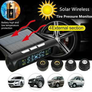 Solar Wireless Lcd Tpms Car Tire Pressure Monitor 4 External Sensor Bar psi Ip67