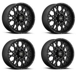Set 4 22 Vision 412 Rocker Satin Black Wheels 22x12 8x170 51mm Lifted Truck