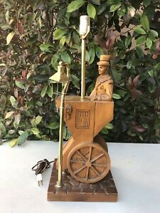 Vintage Antique Hand Carved Wood Man In Top Hat In Cart W Street Light Lamp