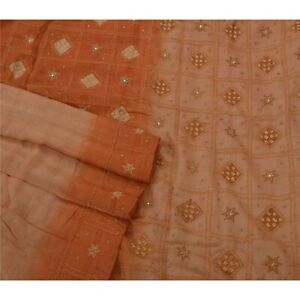 Tcw Vintage Saree 100 Pure Silk Hand Beaded Craft Fabric Sari