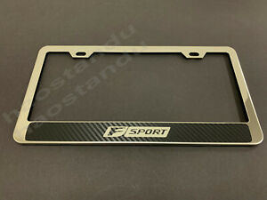 1x Fsport Halo Stainless Steel License Plate Frame W Carbon Fiber Style