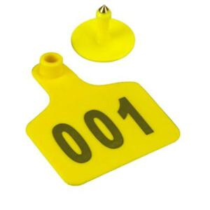 1000 Cattle Ear Tags Customized Cow Livestock Ear Marked Identification Yellow