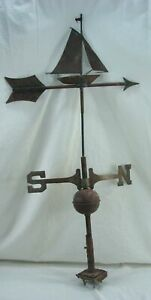 Antique Vtg Copper Nautical Sailboat Weathervane W Pole Missing E