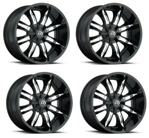 Set 4 17 Vision 423 Manic Black Machined Rims 17x9 5x5 5 12mm Ford F150 5 Lug