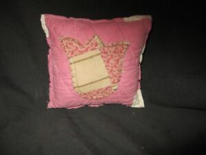 Primitive Quilted Pillow Tuck Pink White With Tulip Easter Spring