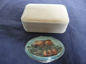 Fine Antique Engine Turned Sterling Silver Guilloche Enamel Peaches Snuff Box