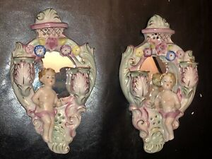 Antique Dresden Or Meissen Porcelain Mirror 2 Candle Sconce W Putti