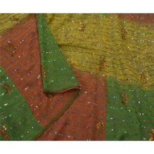 Vintage Saree Pure Georgette Silk Hand Beaded Fabric Premium 5 Yd Ethnic Sari
