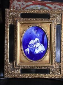 Antique Gilt Cushion Frame Wedgwood Cobalt Babes In Wood Plaque Carvers Gilders