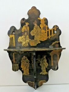 Antique Chinoiserie Blk Lacquered W Gilt Figures Folding Papier M Ch Wall Shelf