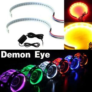 2x Rgb Bluetooth Led Demon Eye Halo Ring Headlight Projector Retrofit Led Light