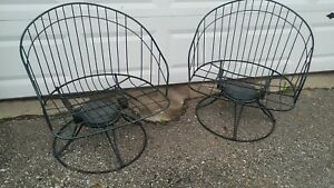 2 Mid Century Homecrest Siesta Bent Wire Barrel Back Chair Swivel Rocker