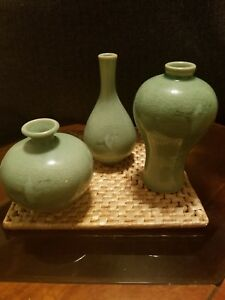 Set Of 3 Celadon Crane Green Glazed Ceramic Korean Vases Signed In Original Box