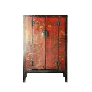 Chinese Vintage Red Golden Scenery Armories Storage Cabinet Cs4988
