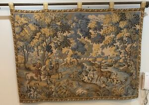 Antique French Tapestry Wall Hanging Aubusson Style 110 X 150 Cm