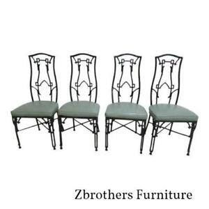 4 Vintage Faux Bamboo French Regency Aluminium Dining Room Side Chairs